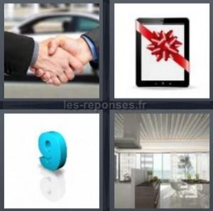 Solution 4 images 1 mot : poignée de mains + ipad + 9 + appartement ...