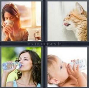 Solution 4 Images 1 Mot Femme Qui Boit Chat Bebe 5 Lettres