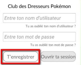 s'inscrire à pokemon go