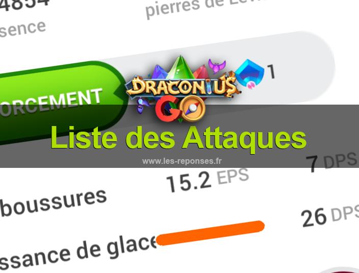 liste attaques Draconius Go