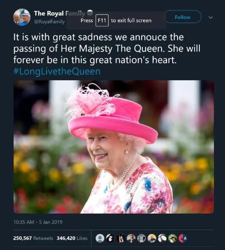 elizabeth rip mort fake news