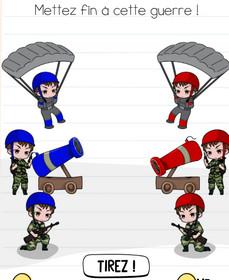 brain test niveau 174 parachute soldat canon