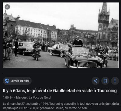 de gaulle en visite à Tourcoing